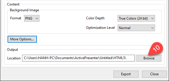output location